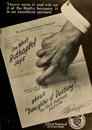 Samuel Roxy Rothafel - Advertisement for Daughter of Destiny (1917) starring Olga Petrova