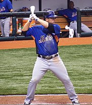 David Wright stands ready in the batters' box wearing the New York Mets' alternate blue jersey