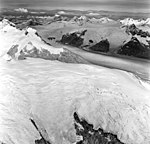 Dawes Glacier, tidewater glacier and hanging glaciers, August 24, 1969 (GLACIERS 5391).jpg
