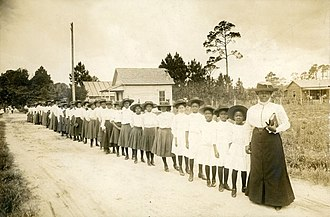Mary McLeod Bethune - Mary McLeod Bethune with girls from the Literary and Industrial Training School for Negro Girls in Daytona, c. 1905.
