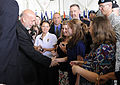 Defense.gov News Photo 100514-F-6655M-005 - Afghan President Hamid Karzai shakes hands with military spouses at Fort Campbell Ky. during a visit with the 101st Airborne Division on May 14.jpg