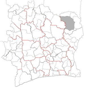 Departments of Ivory Coast - Departments of Ivory Coast. Red lines indicate borders of districts. Bolded black lines indicate borders of regions. Grey area is not governed by a department.