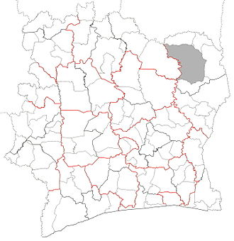 Departments of Ivory Coast. Red lines indicate borders of districts. Bolded black lines indicate borders of regions. Grey area is not governed by a department. Departments map Cote d'Ivoire.jpg