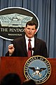 Deputy for the Unmanned Aerial Vehicles Planning Task Force, Office of the Secretary of Defense, Dyke Weatherington briefs reporters on the UAV Roadmap report during a Pentagon press conference on March 18, 2003.jpg