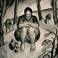 Derkovits A Woman Shepherd 1922.jpg