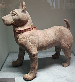 Dog in Chinese mythology - Later Han dynasty, a standing statue of a dog from Sichuan.