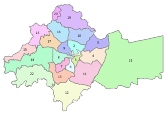 Greater Amman Municipality - Image: Districts of Amman Numbered