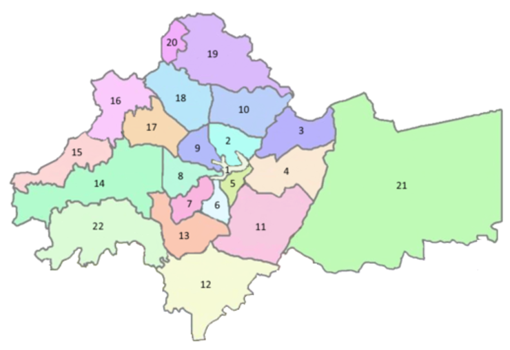Districts of Amman Numbered