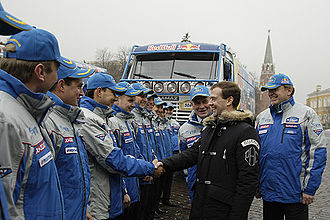 2009 Dakar Rally - Russian President Dmitry Medvedev meets with the KAMAZ-Master team at the Moscow Kremlin on 28 January 2009.