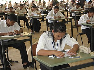 Test (assessment) - Cambodian students taking an exam in order to apply for the Don Bosco Technical School of Sihanoukville in 2008.