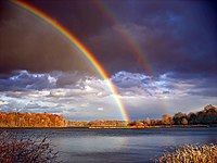Rainbows and departing storm clouds, Minsi Lak...