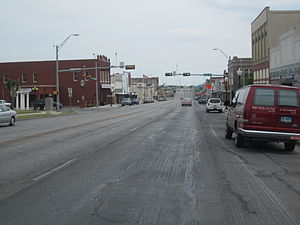 Taylor, Texas - Downtown Taylor on Main Street (Texas State Highway 95) as it heads south to intersect U.S. Highway 79.