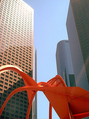Downtown LA's office skyscrapers. Including the Wells Fargo Center and California Plaza Towers.