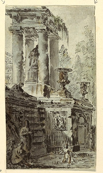 File:Drawing, Architectural Fantasy with Figures Bathing, 1770 (CH 18170743).jpg