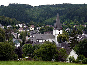 View of Drolshagen towards south from Papenberg (417 m). St. Clement's Church dominates the skyline.
