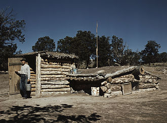 Dugout (shelter) - Dugout home near Pie Town, New Mexico, 1940.
