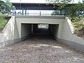 Dunakeszi-Gyartelep train station, pedestrian underpass from west, 2016 Hungary.jpg