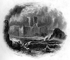 Dunbar Castle - 19th-century engraving of the castle