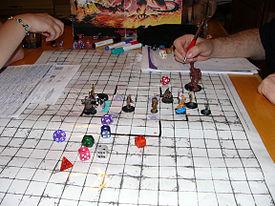 Exemple de partie classique dans Donjons & Dragons : figurines, tableau blanc quadrillé effaçable à sec, paravent et feuilles de personnages.