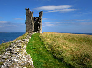 Dunstanburgh Castle - Lilburn Tower, seen from the edge of the outer bailey