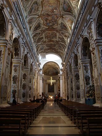 Caltanissetta - Interior of the Cathedral, with a series of frescoes by the Flemish painterGuglielmo Borremans (1722).