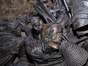 Battle of Worringen - Detail from memorial at Düsseldorf, bronze, 1988