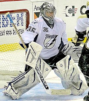 UMass Lowell River Hawks men's ice hockey - UMass Lowell alum and All-American, Dwayne Roloson with the Tampa Bay Lightning in 2011.