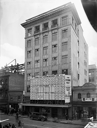 The Evening Post (New Zealand) - Blundell Bros Limited Head Office Willis Street Wellington 1928 Printing and publishing is in the linked building at the rear fronting onto Boulcott Street. Election returns for 1928 are visible on the front of the building.