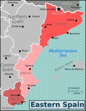 Mappa Spagna Orientale.Spagna Orientale Wikivoyage Guida Turistica Di Viaggio