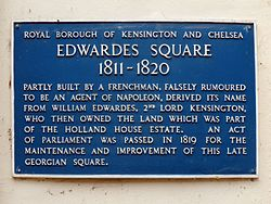 Edwardes square plaque