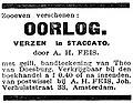 Eenheid no 381 advertisement Oorlog, Verzen in Staccato.jpg
