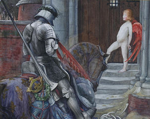 A Knight and Cupid before a castle door