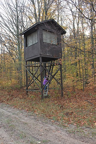 Hunting blind - A large elevated hunting blind. Michigan, US