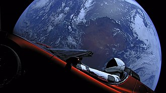 "Elon Musk's Tesla Roadster - The mannequin known as ""Starman"", seated in the Roadster"