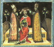 Two bishops putting a crown on the head of a man sitting on a throne