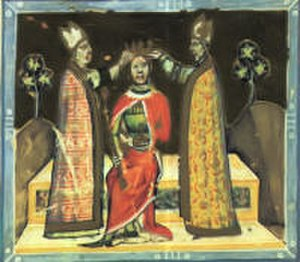 Emeric, King of Hungary -  The coronation of Emeric (from the Illuminated Chronicle)