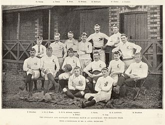 History of the England national rugby union team - The English team before a match to Scotland in 1892