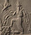 Detail of Enki from the Adda Seal, an ancient Akkadian cylinder seal dating to circa 2300 BC