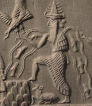 Enki - Detail of Enki from the Adda Seal, an ancient Akkadian cylinder seal dating to circa 2300 BC