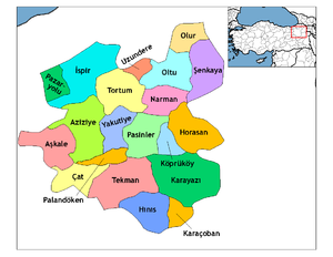Erzurum Province - Map showing districts of Erzurum Province.
