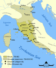 Map showing the extent of the Etruscan civilization and the twelve Etruscan League cities.