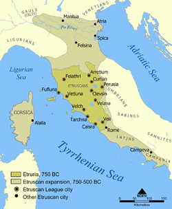 Extent of Etruscan civilisation and the twelve Etruscan League cities.