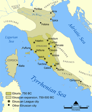 Etruscan history - A map showing the extent of Etruria and the Etruscan civilization; the map includes the 12 cities of the Etruscan League and notable cities founded by the Etruscans