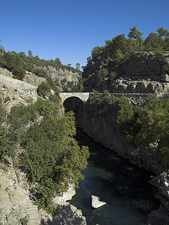 Köprüçay River - The Eurymedon valley near Selge, spanned by the intact Roman bridge