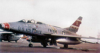 353rd Combat Training Squadron - North American F-100F-10-NA Super Sabre serial 56-3869 of the 353d TFS. The aircraft is marked as Col. Gabreski's Wing Commander's aircraft.