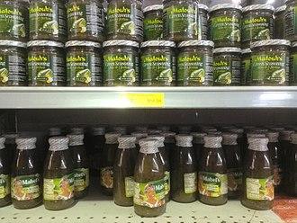 Trinidad and Tobago cuisine - Green seasoning in a supermarket