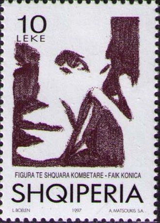 Faik Konica - Konica depicted on an Albanian postal stamp