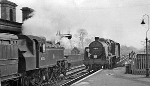 Fareham railway station - Stopping trains cross at Fareham in 1955