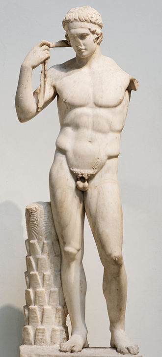 The so-called 'Farnese Diadumenos' is a Roman copy of a Greek original attributed to Polykleitos c. 440 BC, depicting an athlete tying a victory ribbon round his head. Farnese Diadumenos BM 501.jpg
