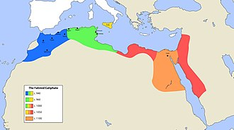Map of the Fatimid Caliphate at its largest extent in the early 11th century Fatimid.jpg